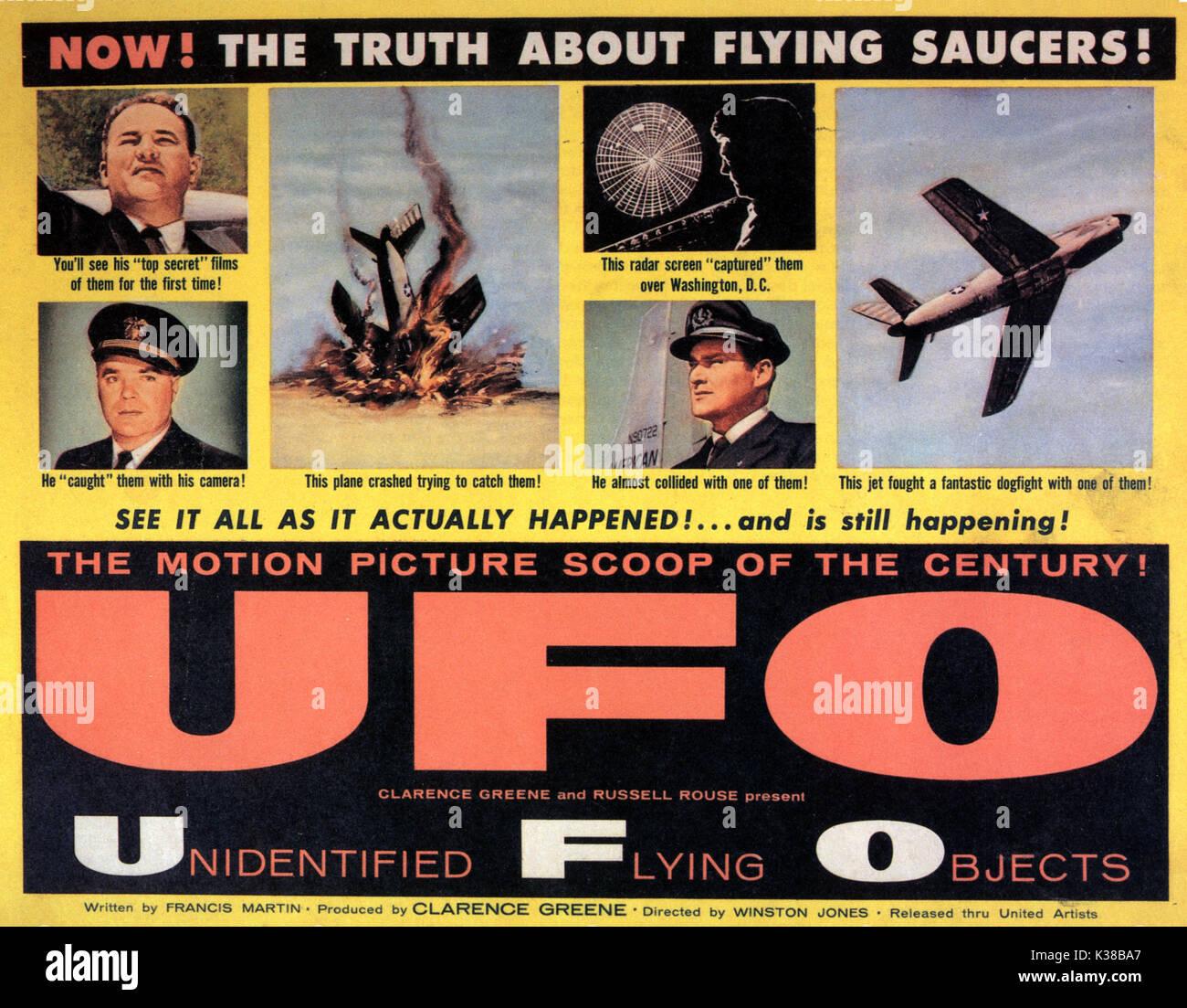 Nicht identifizierte fliegende Objekte: DIE WAHRE GESCHICHTE DER fliegenden Untertassen aka UFO 50er B-Movies Poster Stockbild
