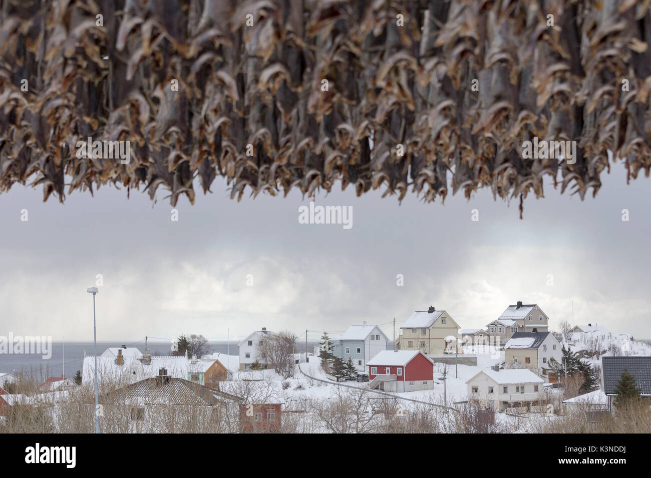 Skandinavische Häuser im Schnee gegen die bedeckt Meer im Lofoten Inseln, Norwegen Stockbild
