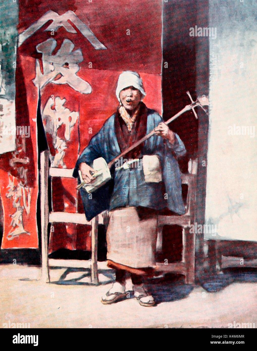 Einem blinden Bettler in Japan, um 1900 Stockbild