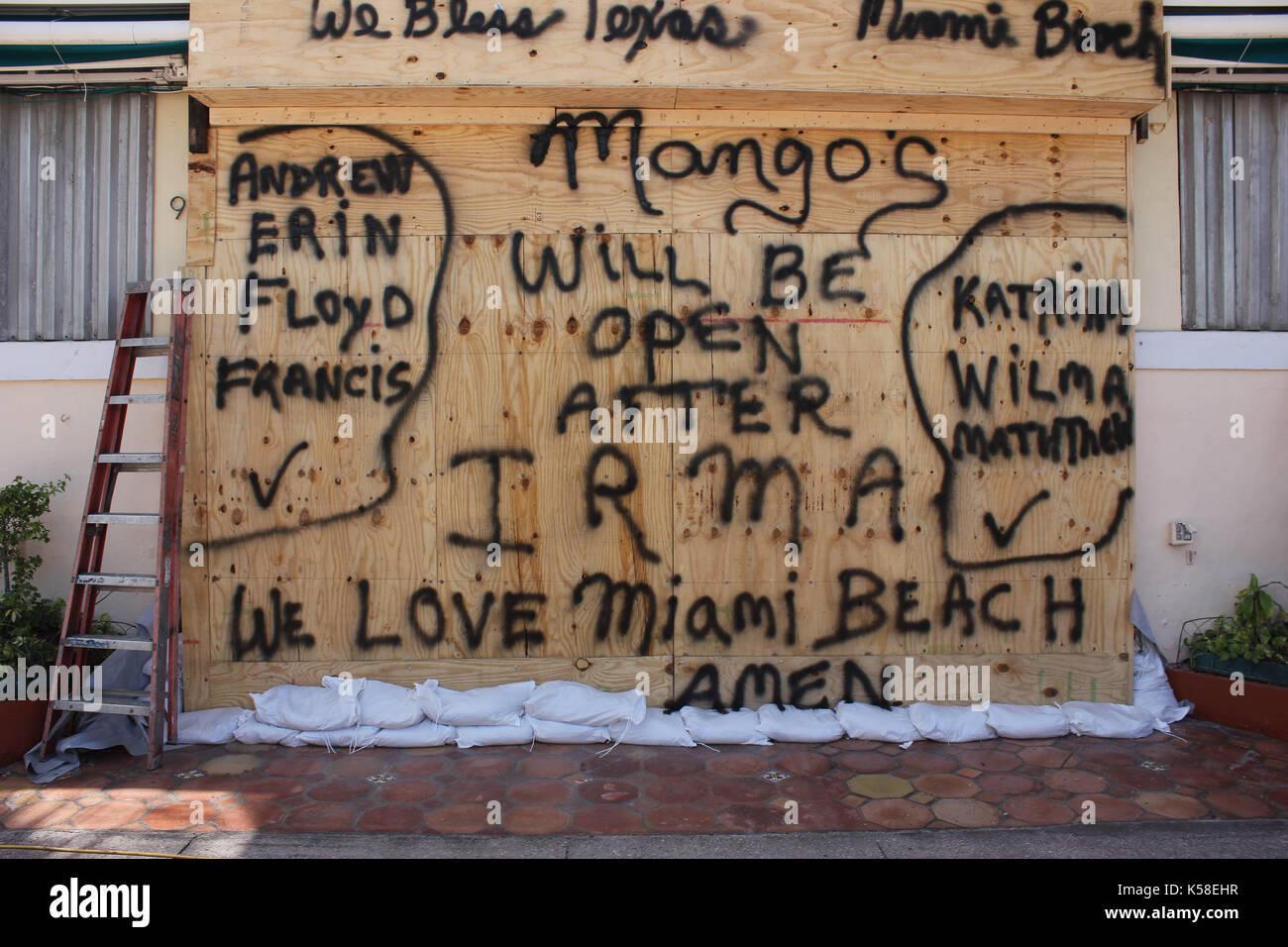 Miami Beach, Verlassen, vor Hurrikan Irma, 8. September 2017 Stockbild