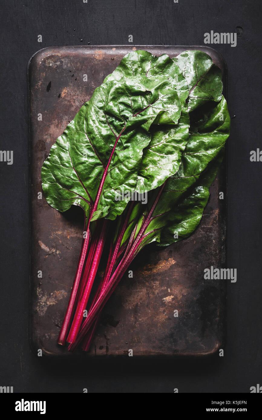 Frischen Mangold die Blätter auf dunklen Rusty Hintergrund. table top Anzeigen frische organische Green Food Stockbild
