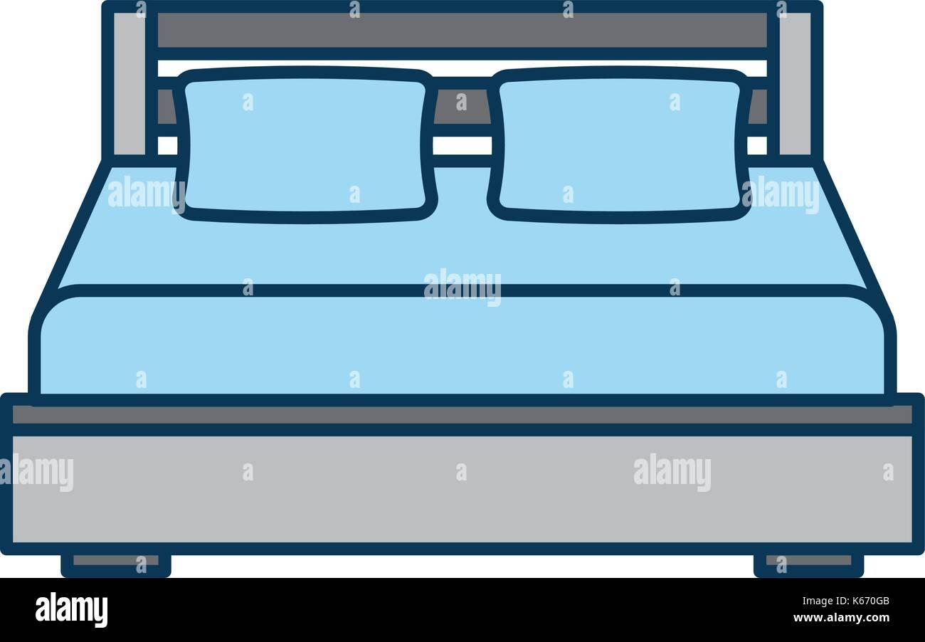 Doppelbett und Kissen mit Decke Schlafzimmermöbel Stockbild