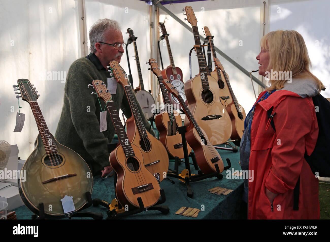 Robin Greenwood Instrumente, Sandkasten Feld, Swanage Folk Festival 2017, Isle of Purbeck, Dorset, England, Großbritannien, Stockbild