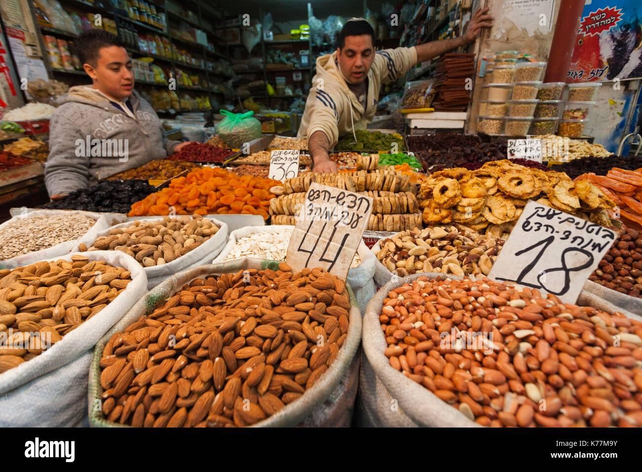 Israel, Jerusalem, neue Stadt, Mahane Yehuda Markt, Mutter Kaufleute, Stockbild
