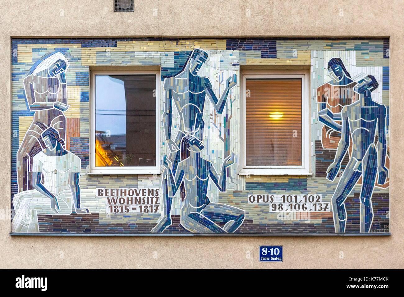Österreich, Wien, Altstadt zum Weltkulturerbe der UNESCO, Malerei Art Deco Stockbild