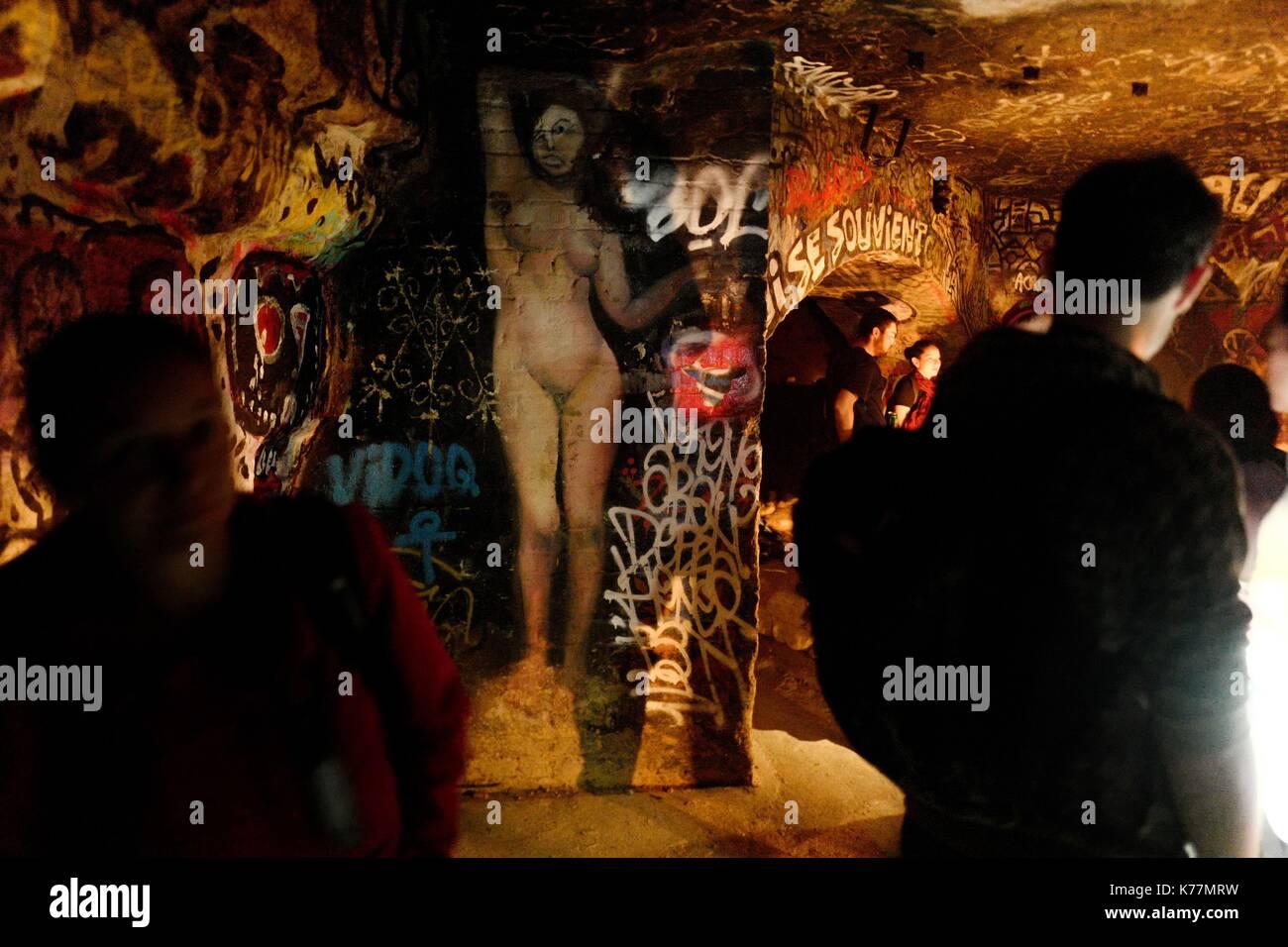 Frankreich, Paris, unterirdischen Steinbrüchen von Paris, Musical Show Urbex Romantik der Firma Fleming Welt Stockbild