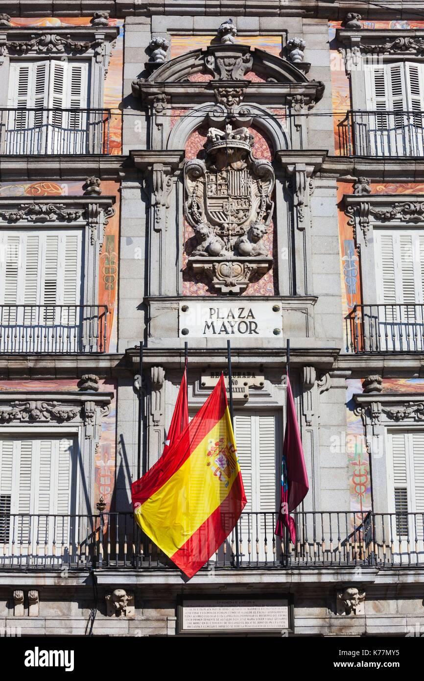 Spanien, Madrid, Centro Region, Plaza Mayor, Gebäude detail Stockbild