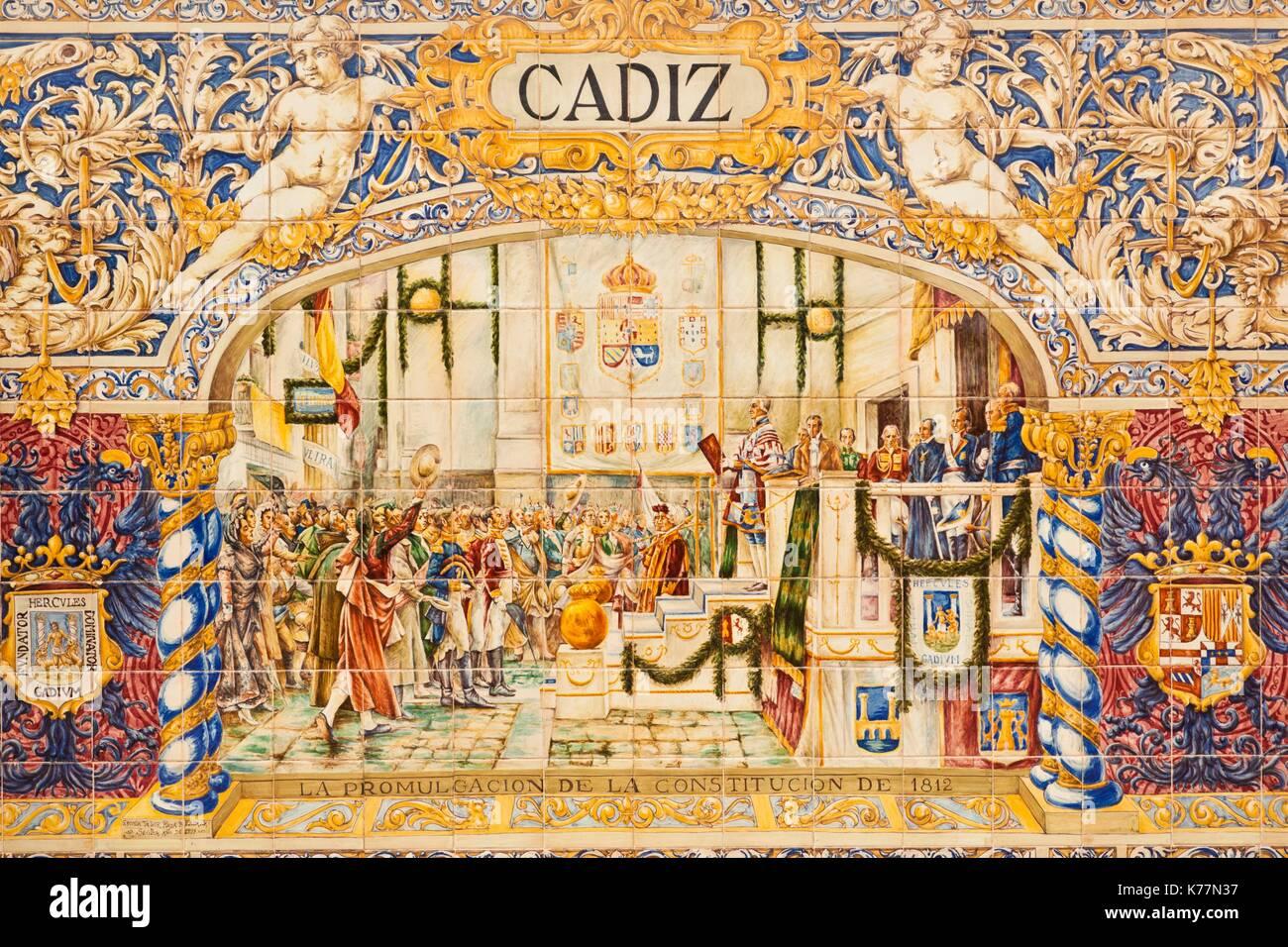 Spanien, Andalusien, Provinz Sevilla, Sevilla, Plaza Espana, Cadiz Fliese Wand Stockbild