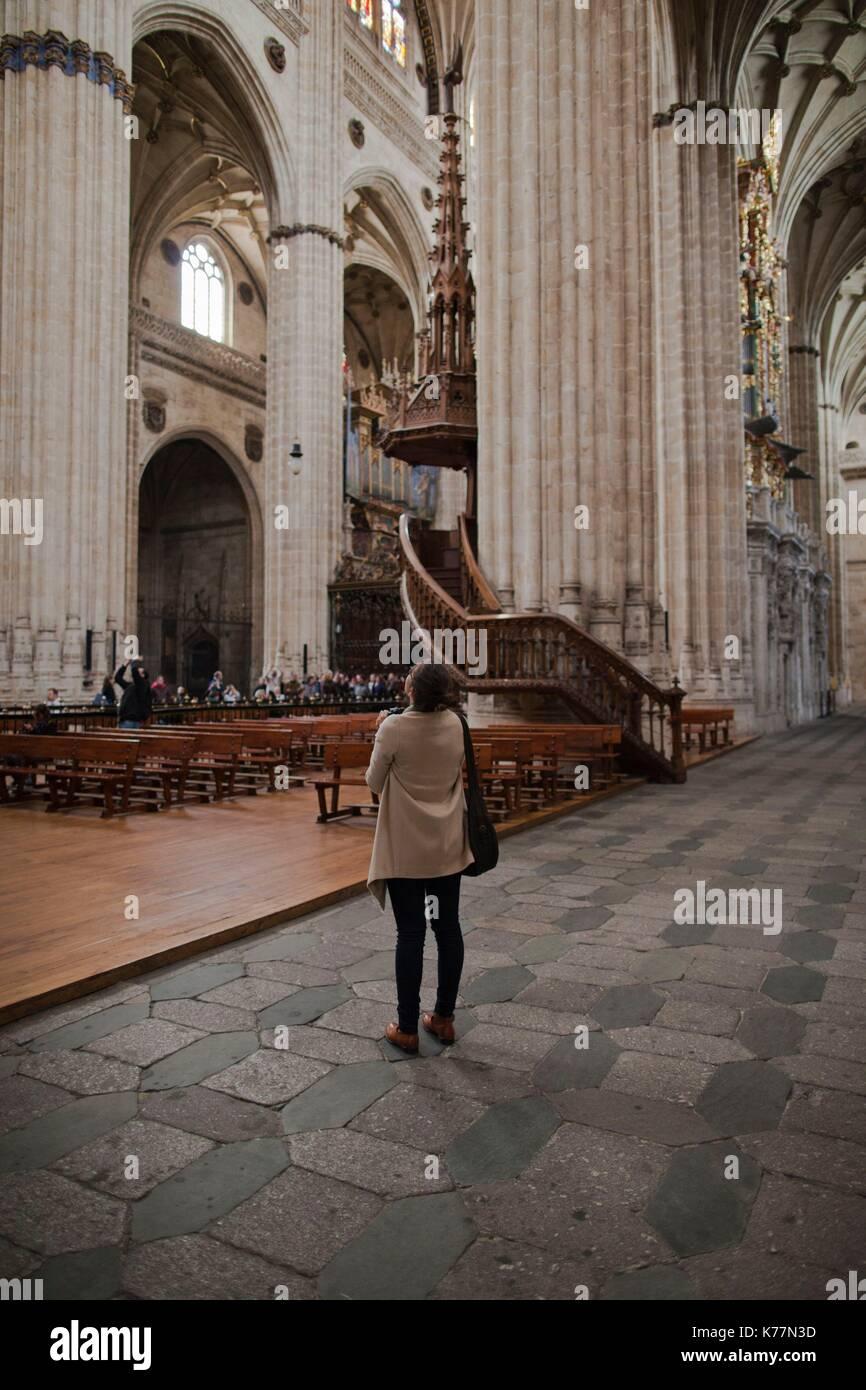 Spanien, Castilla y Leon Region, Provinz Salamanca, Salamanca, Salamanca, die Kathedralen, Besucher, Stockbild