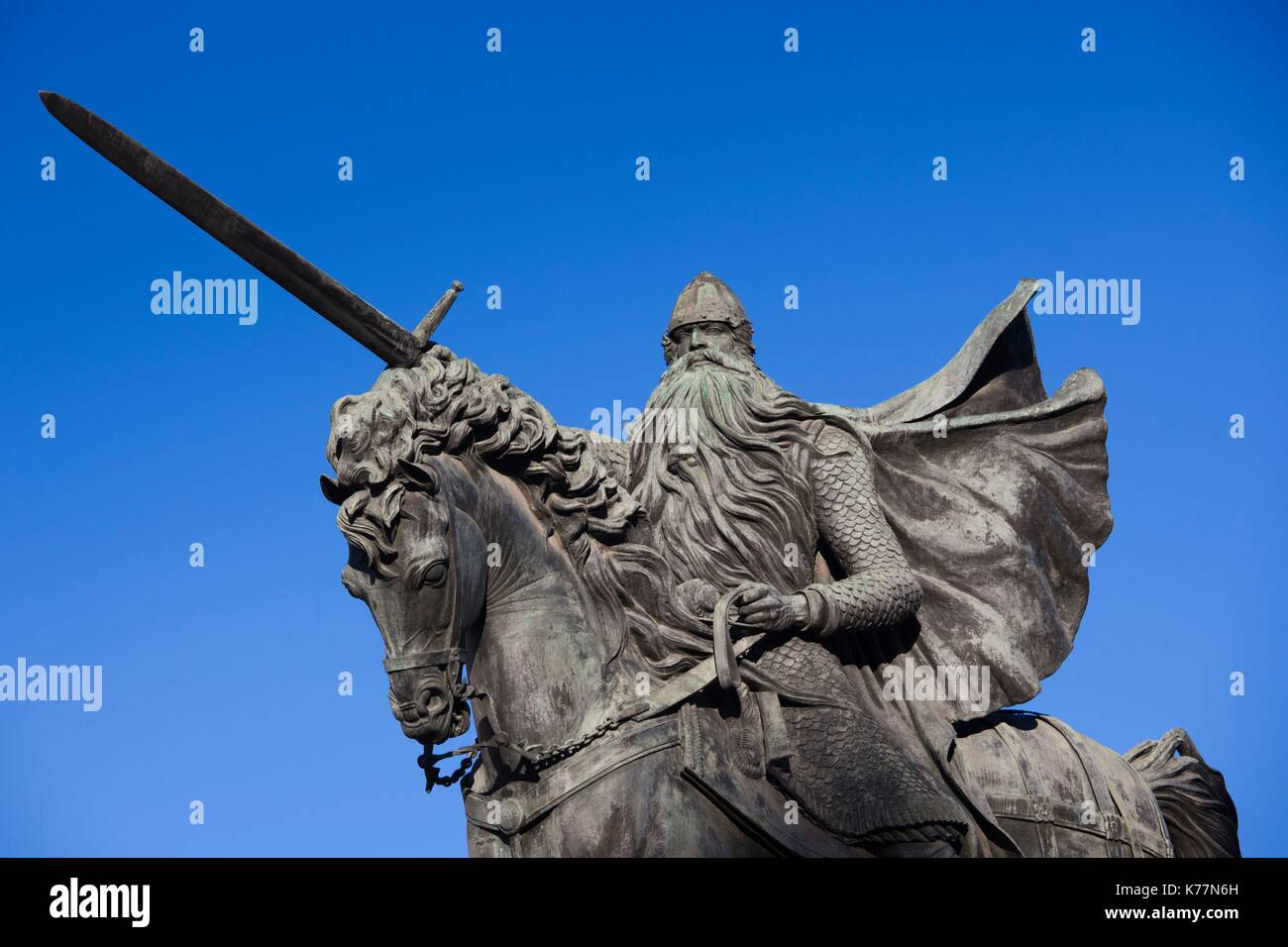 Spanien, Region Castilla y León, Burgos Provinz Burgos, Statue des El Cid Stockbild