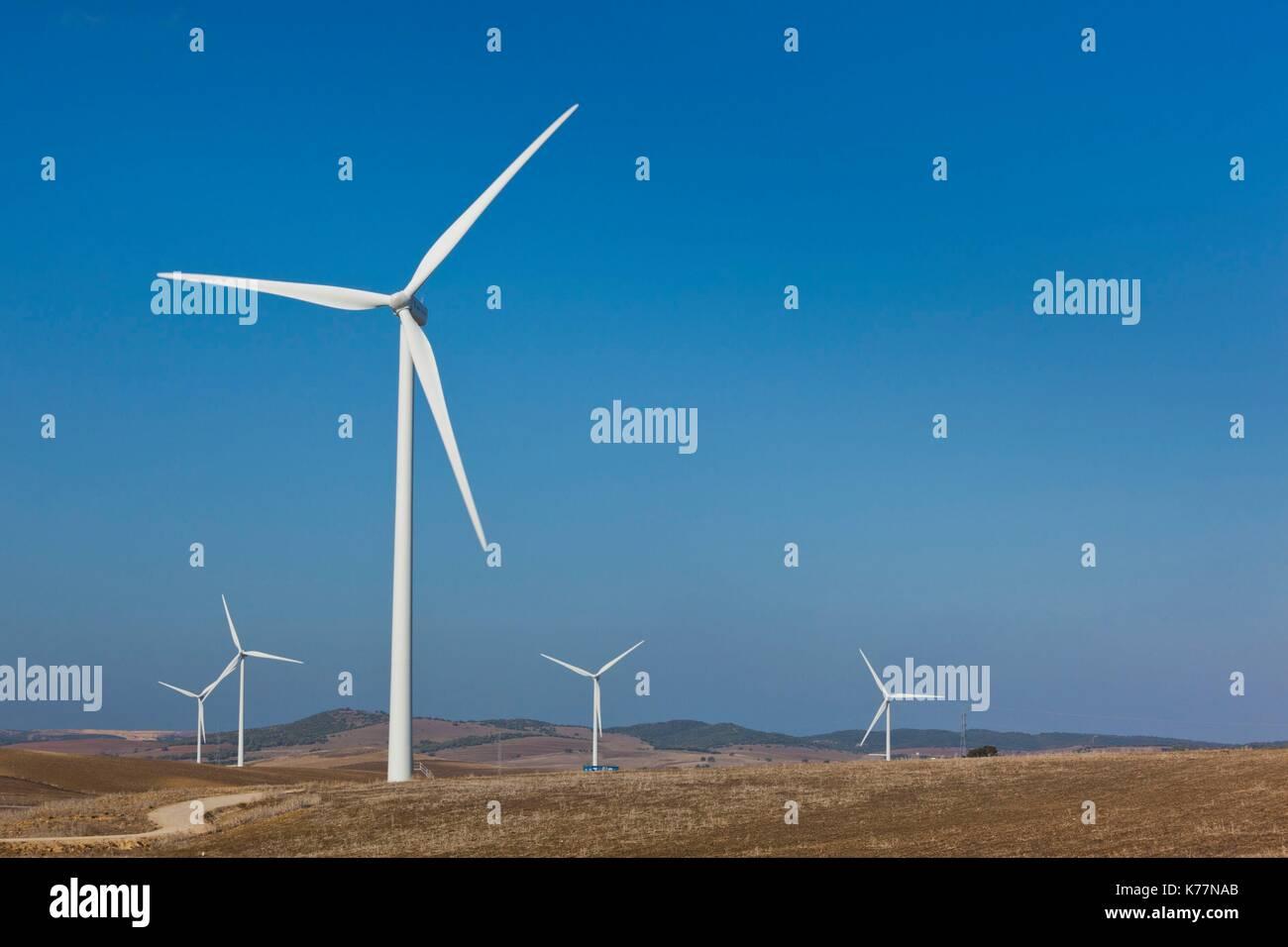 Spanien, Andalusien, Provinz Cadiz, Vejer De La Frontera Bereich, moderne Windmühlen Stockbild