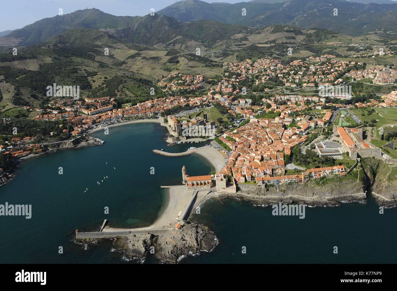 Frankreich, Pyrenees Orientales, Collioure, touristischen Stadt von Roussillon entfernt an der Côte Vermeille, Stockbild