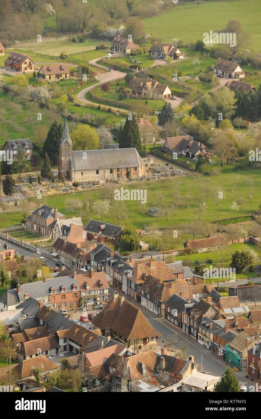 Frankreich, Calvados, Beuvron en Auge, mit der Bezeichnung der Schönsten Dörfer von Frankreich, Fachwerkhäuser Stockbild