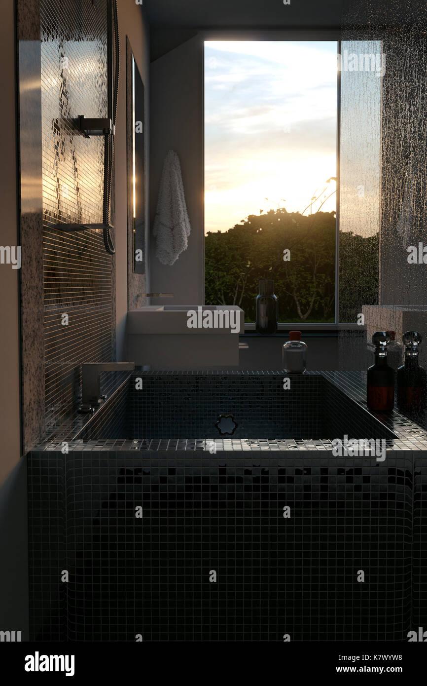 3D Rendering Von Luxus Badezimmer Mit Mosaikfliesen. Blick Von Der  Badewanne Zu Den Sonnenuntergang