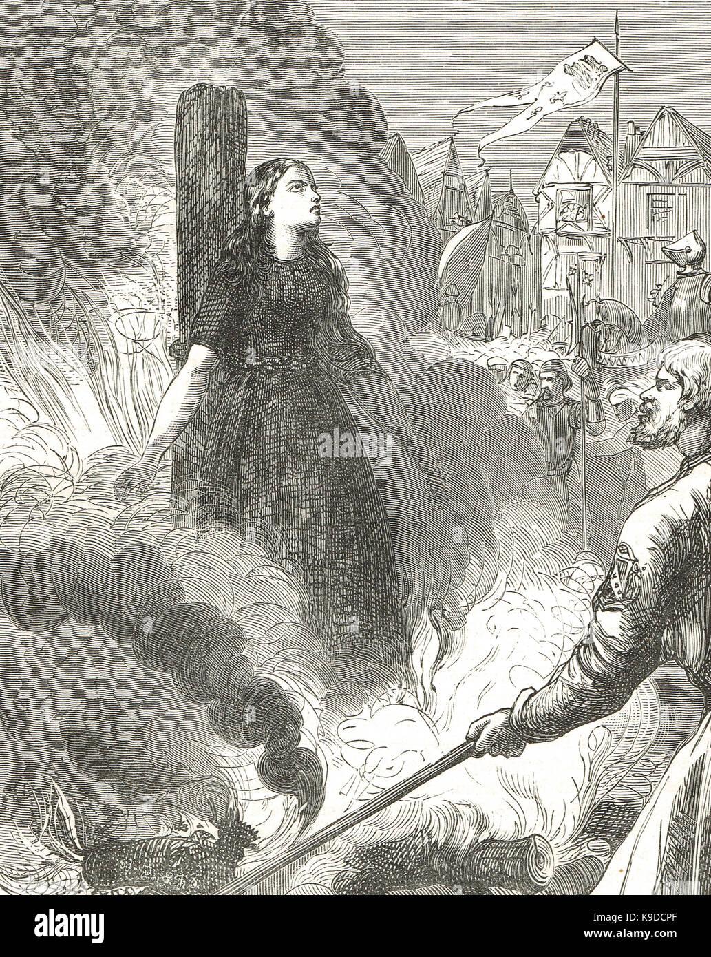 Jeanne d'Arc auf dem Scheiterhaufen verbrannt, Rouen, Frankreich, 30. Mai 1431 Stockbild
