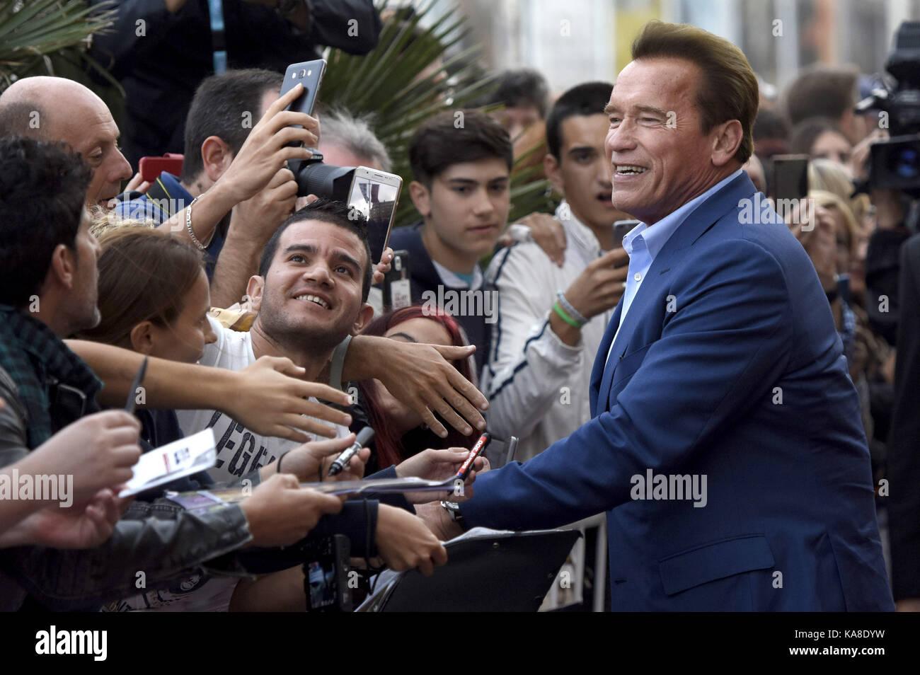 """San Sebastian, Spanien. 25 Sep, 2017. Arnold Schwarzenegger Besucht das """"Wunder von Meer 3 D'Premiere auf Stockbild"""