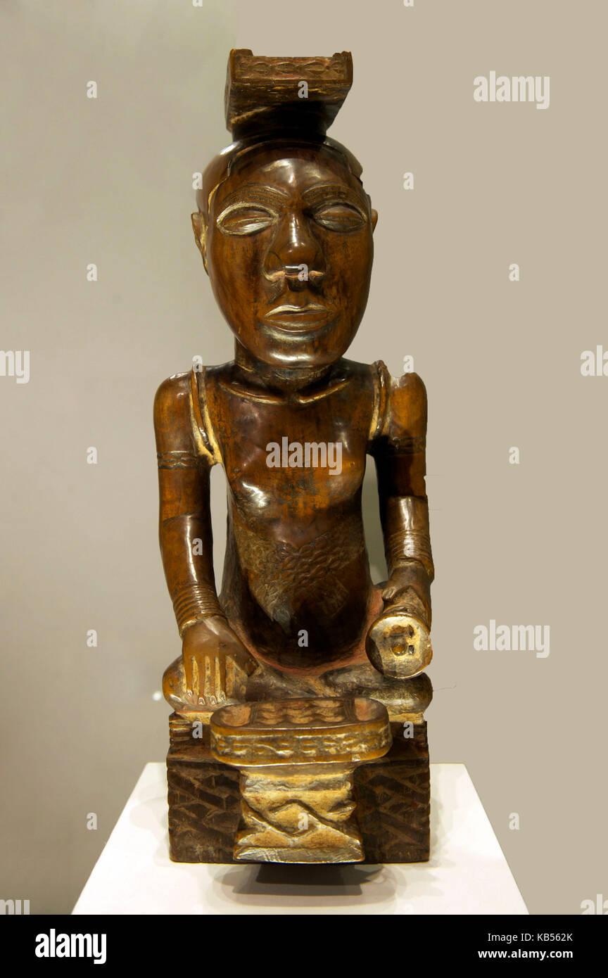 Vereinigtes Königreich, London, Bloomsbury, das British Museum, das Schnitzen eines Königs, Holz, Kuba Stockbild