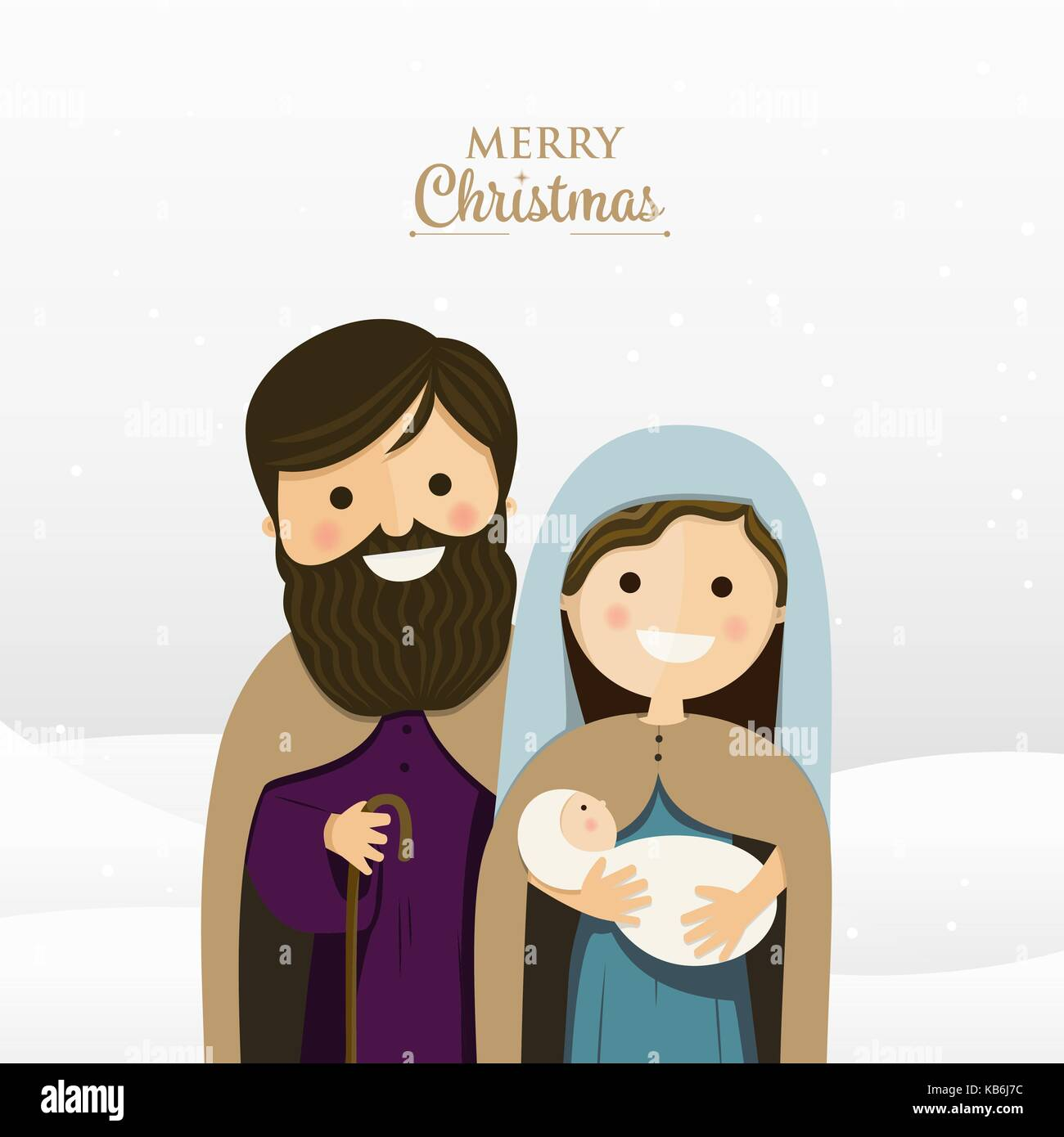 Frohe Weihnachten Gruß mit der Heiligen Familie. Vector Illustration ...