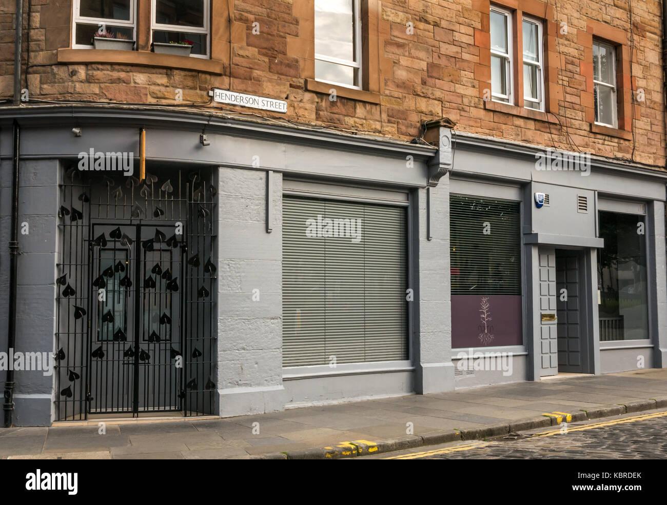 Schlichte Fassade der feinen Küche bio Restaurant namens Norn, Henderson Street, Leith, Edinburgh, Schottland, Stockbild