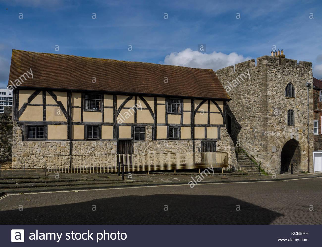 Southampton City Wall tudor Händler Halle Hampshire england Stockbild
