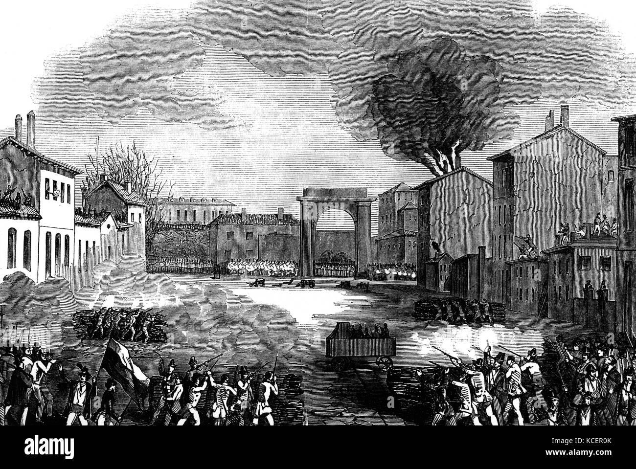 Kupferstich mit der Darstellung der Konflikt an der Porta tosa während der fünf Tage in Mailand. Vom 16. Stockbild