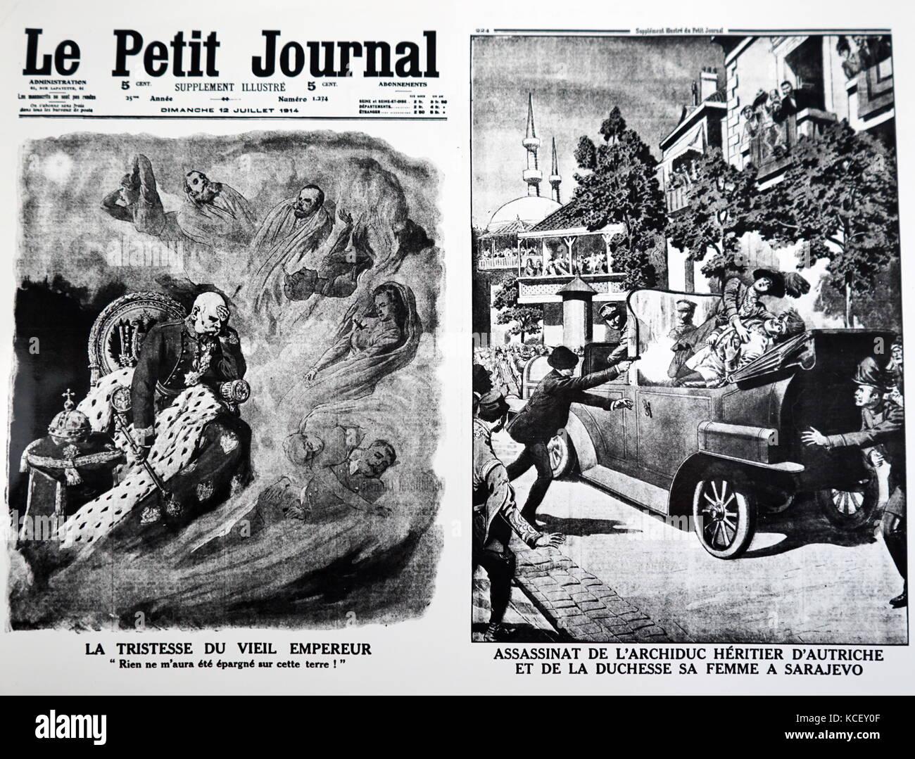 Zwei Karikaturen zeigen die Trauer von Franz Josef von Österreich und der Ermordung seines Neffen Franz Ferdinand, Stockbild