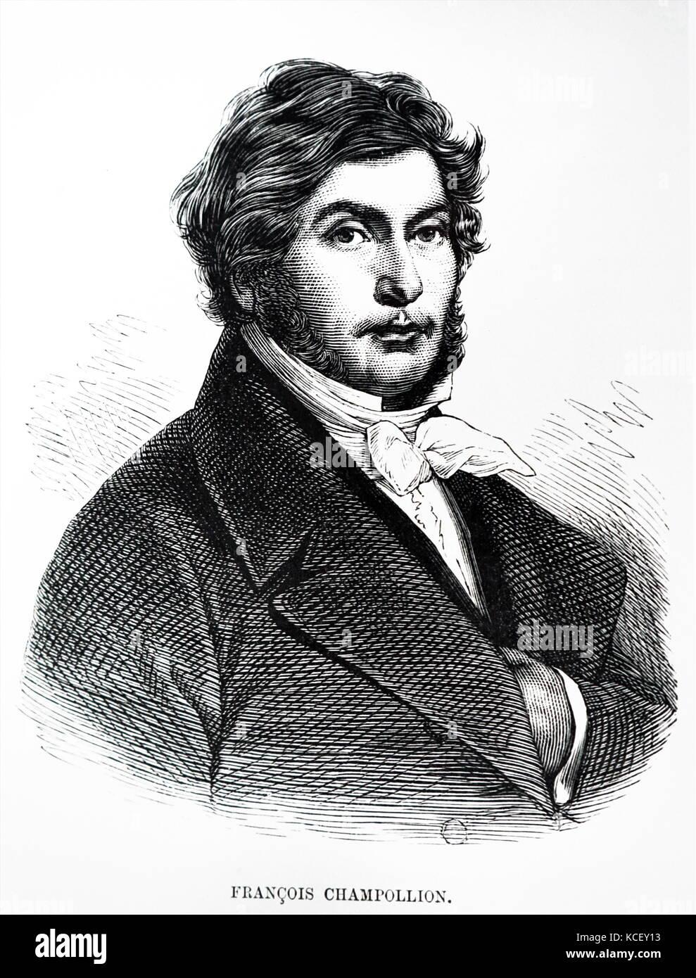 Porträt von Jean-françois Champollion (1790-1832), ein französischer Gelehrter, Sprachwissenschaftler Stockbild