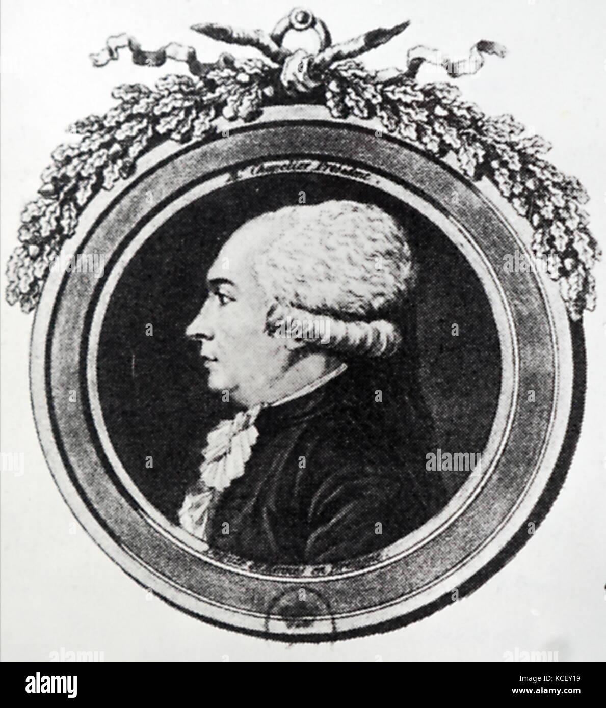 Portrait von Isaac René Guy Le chapelier (1754 - 1794) Ein französischer Jurist und Politiker der revolutionären Stockbild