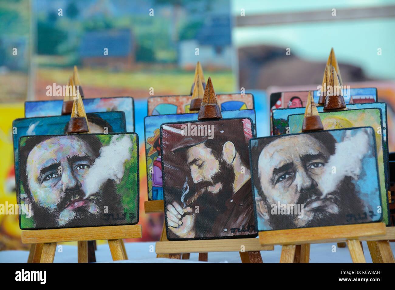 Souvenir Gemälde von Fidel Castro, vinales, Kuba Stockbild