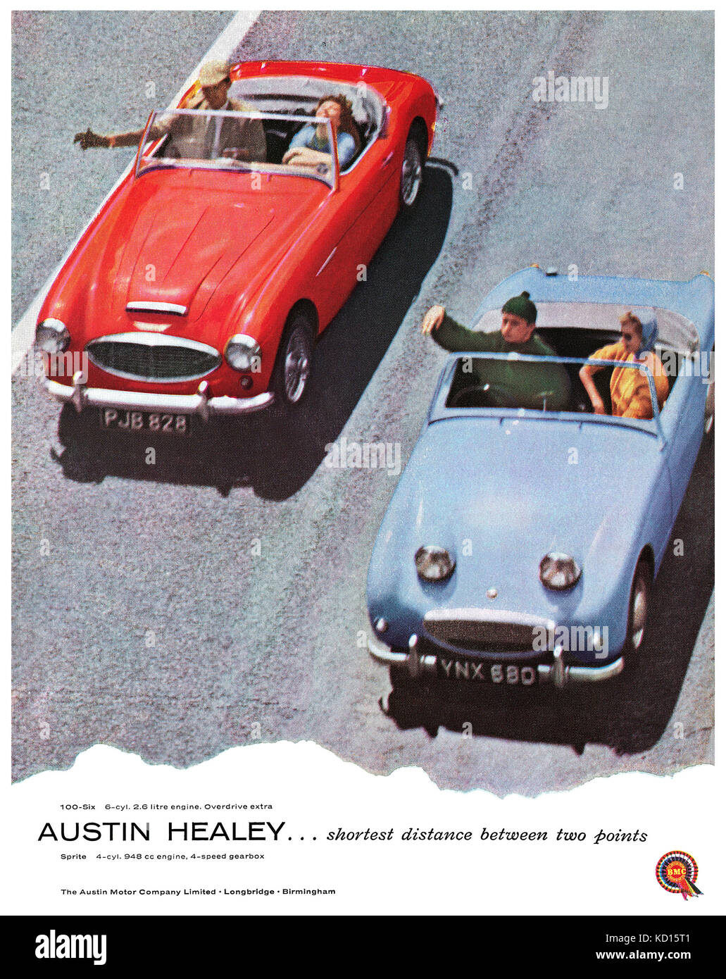 1958 britischen Werbung für den Austin Healey100-6 und Austin Healey Sprite Sportwagen. Stockbild