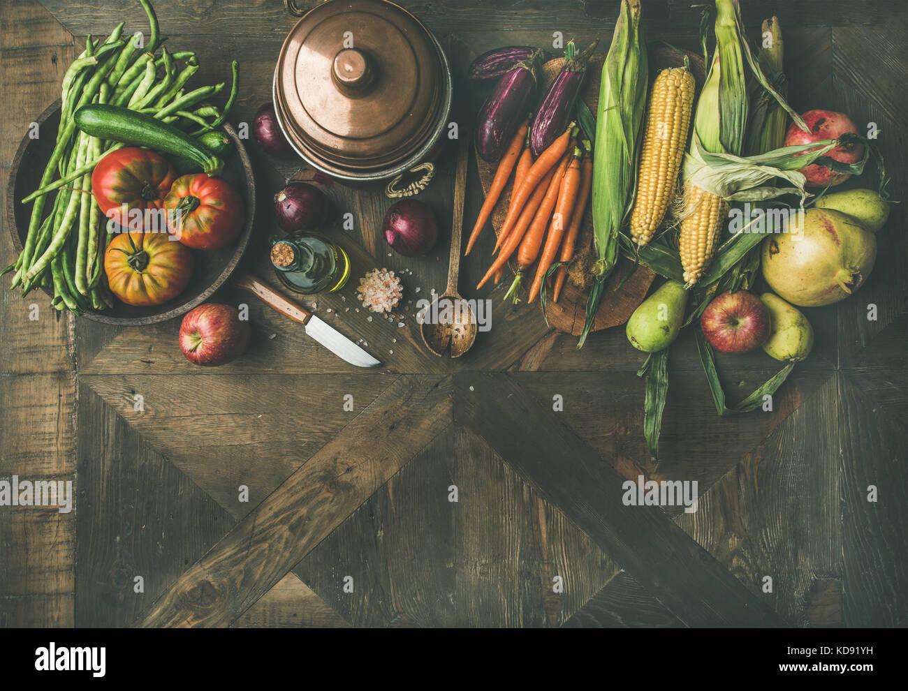 Herbst Zutaten für thanksgiving Tag Abendessen Vorbereitung, Kopie Raum Stockbild