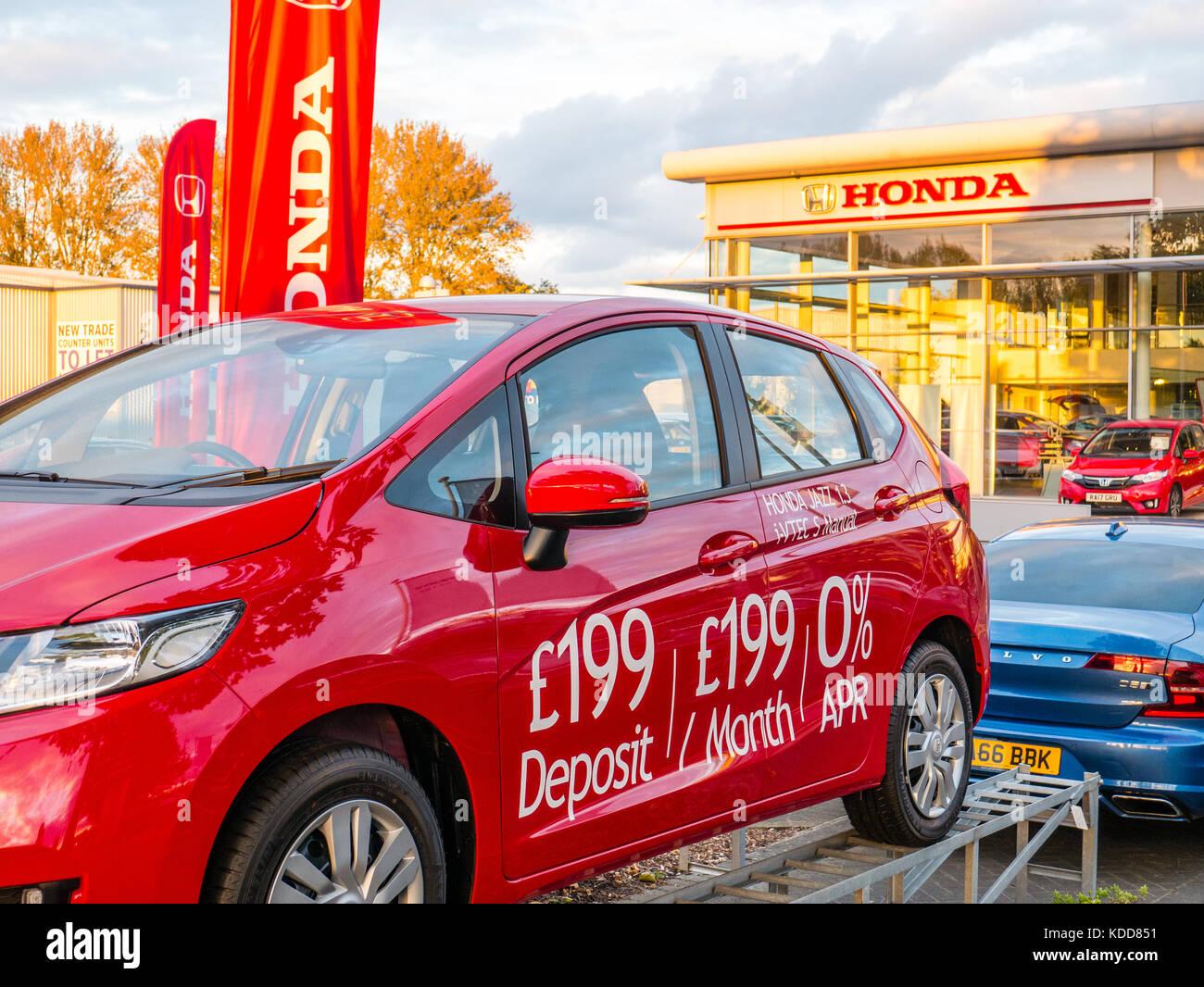 Honda Händler, Autohaus, Reading, Berkshire, England Stockbild