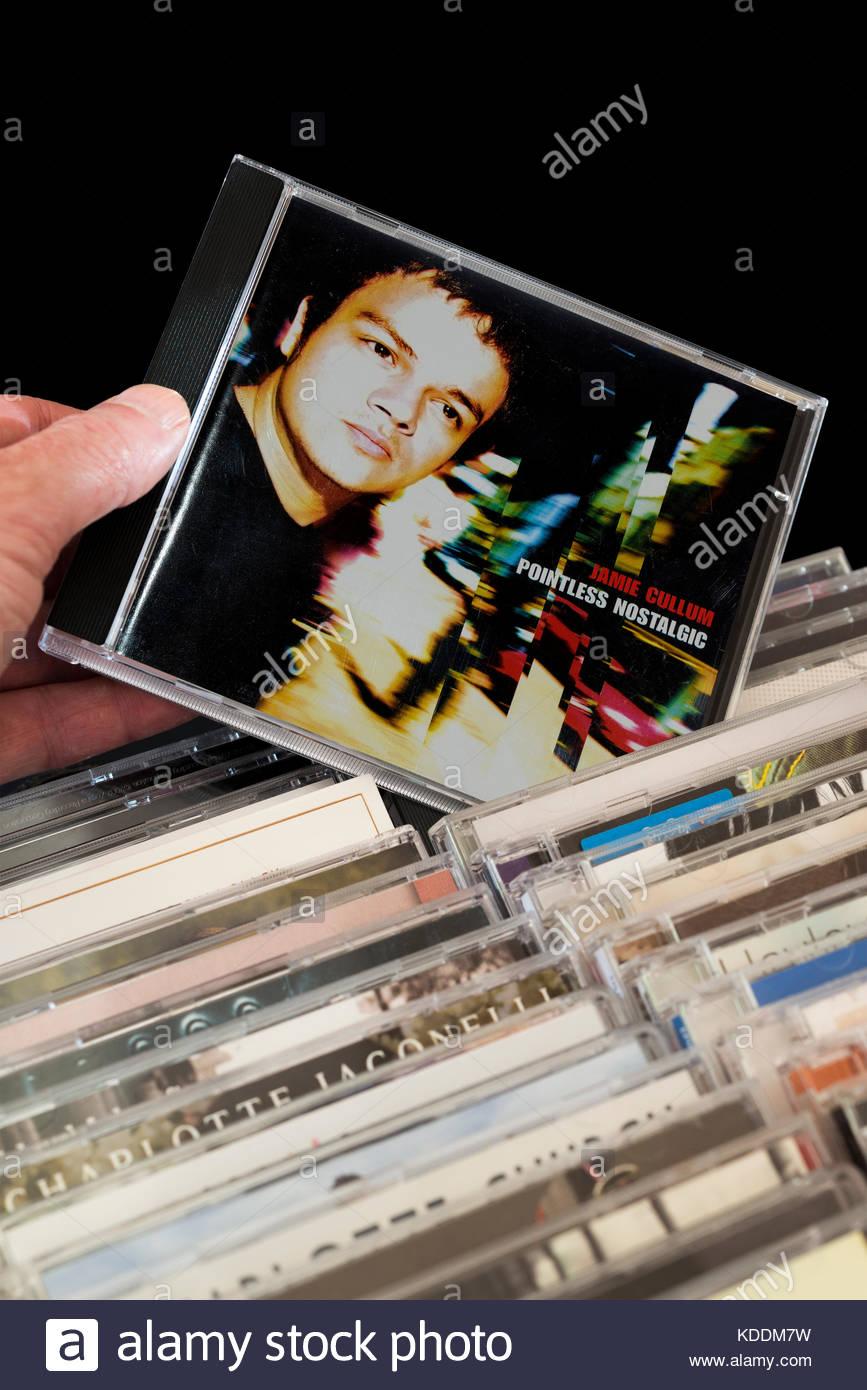 Sinnlos Nostalgischen, Jamie Cullum CD aus den Reihen von Dorset, England's andere CD ausgewählt wird Stockbild