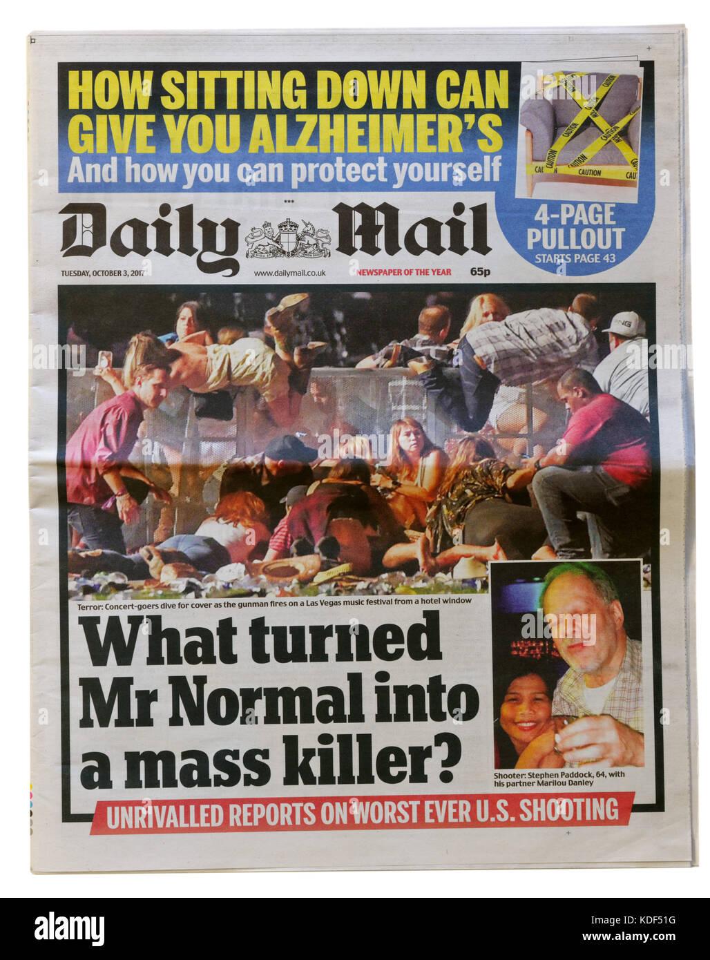 Daily mail Zeitung Schlagzeile nach der Las Vegas Masse Schießen am 1. Oktober 2017 Stockbild