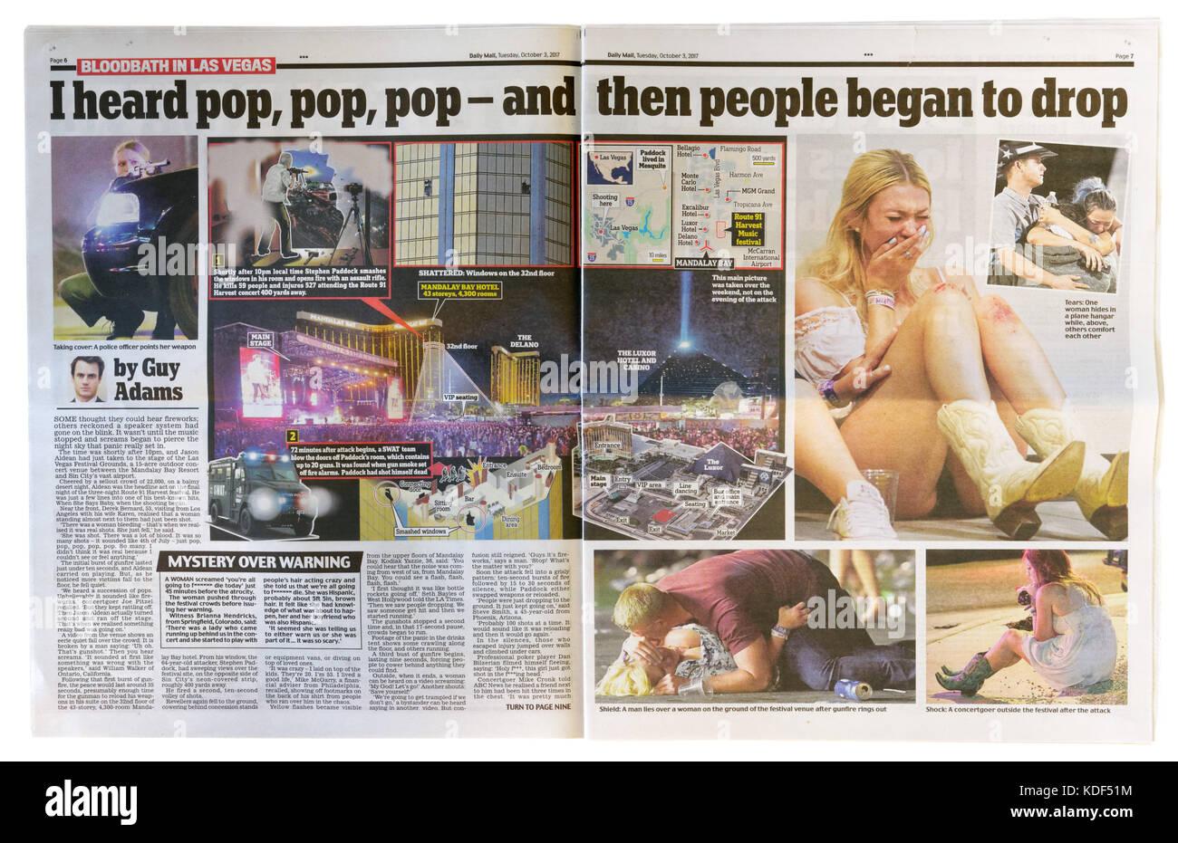 Daily mail Innenseiten Schlagzeile nach der Las Vegas Masse Schießen am 1. Oktober 2017 Stockbild