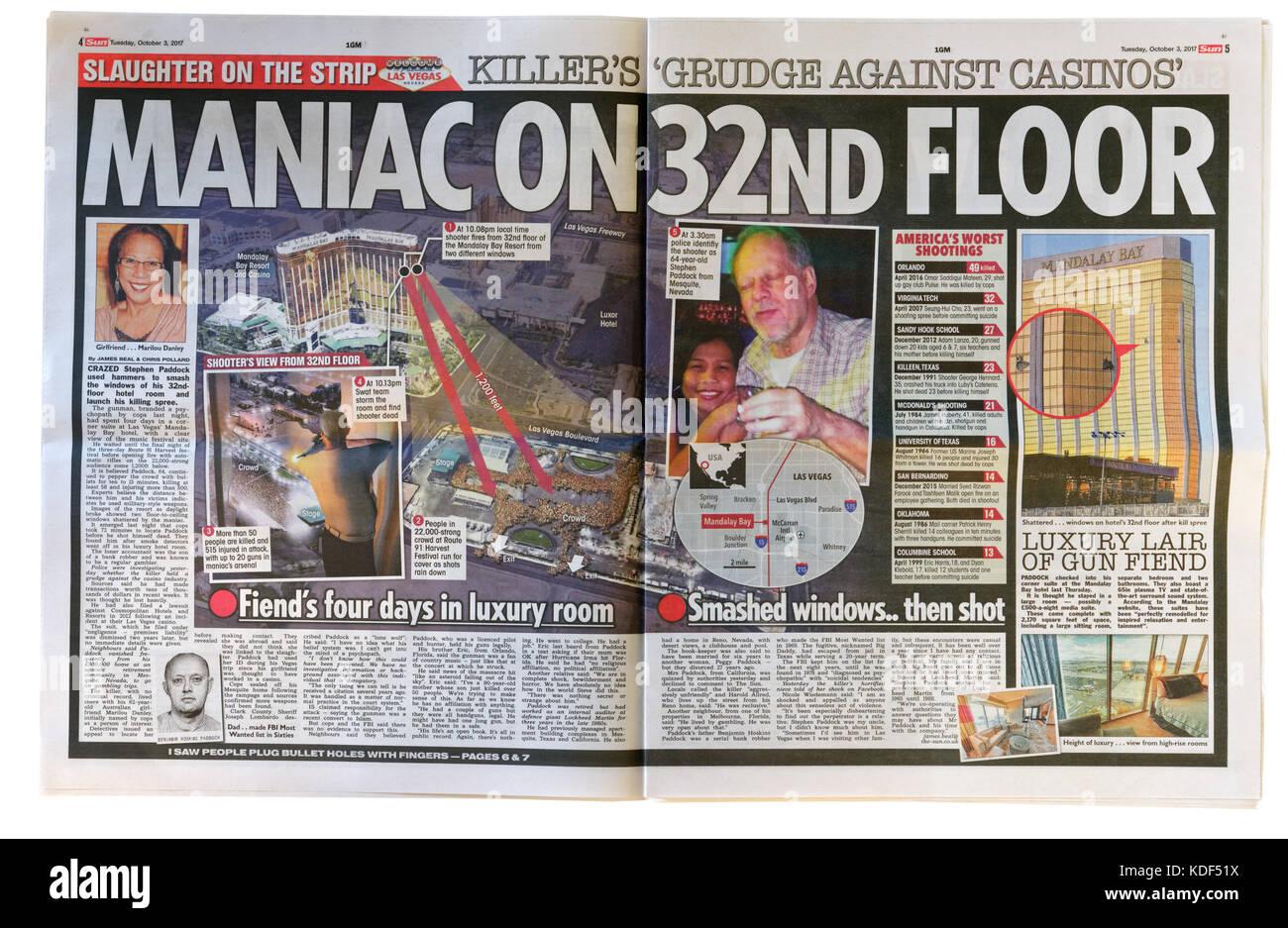 Die sonne Innenseiten Schlagzeile nach der Las Vegas Masse Schießen am 1. Oktober 2017 Stockbild
