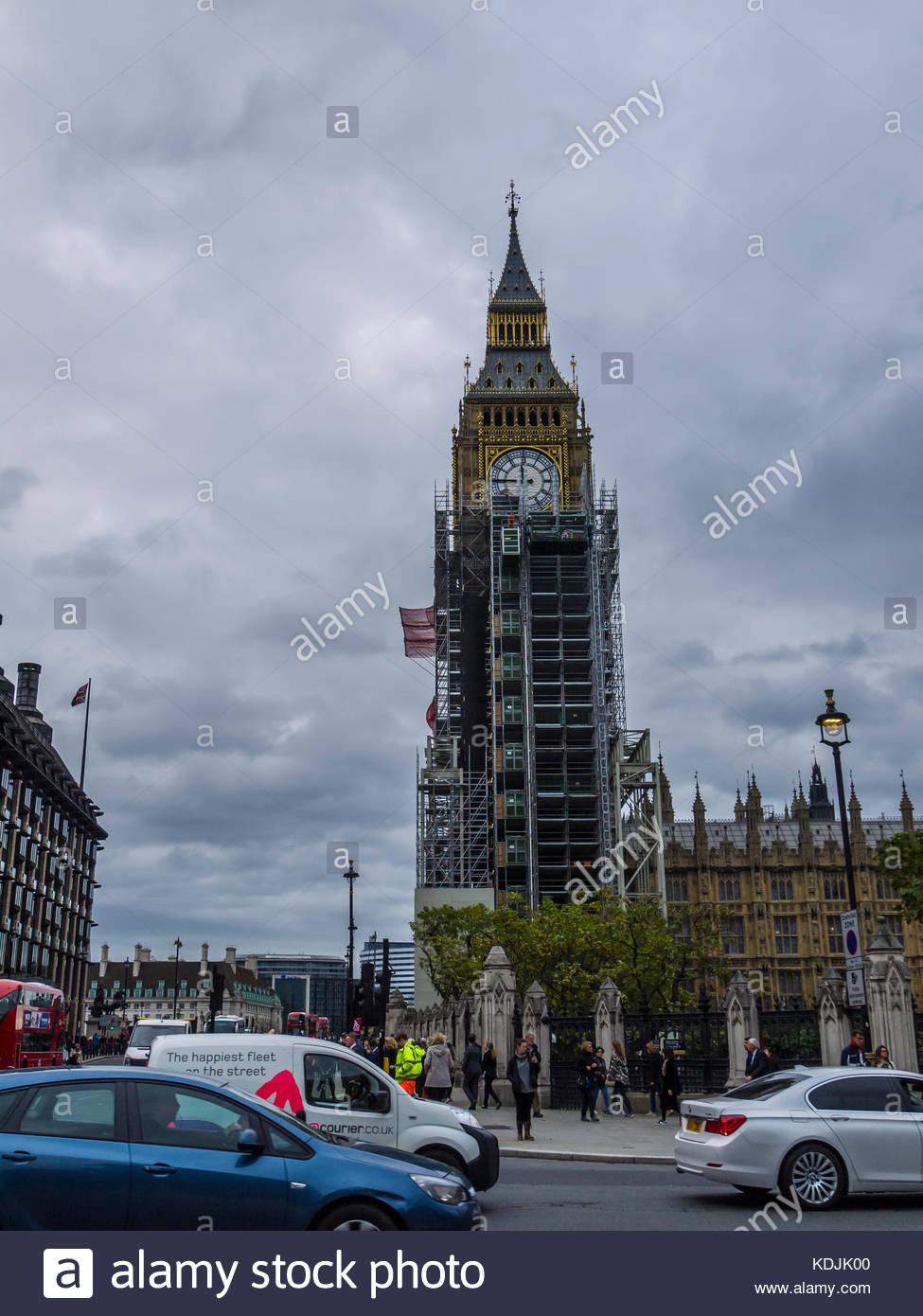 Big Ben clock unter Reparatur London England Stockbild