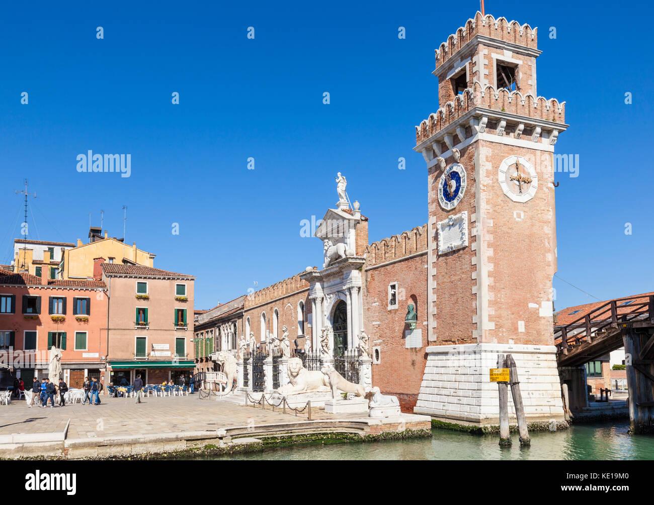 Italien Venedig Italien venezianische Arsenal Arsenale Di Venezia Ponte del Purgatorio und der Porta Magna im Venetian Stockbild