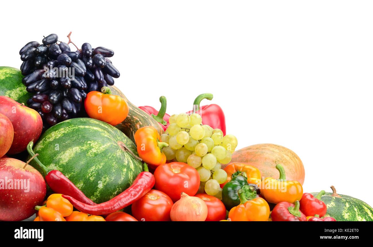 Sammlung Obst und Gemüse isoliert auf weißem Stockbild