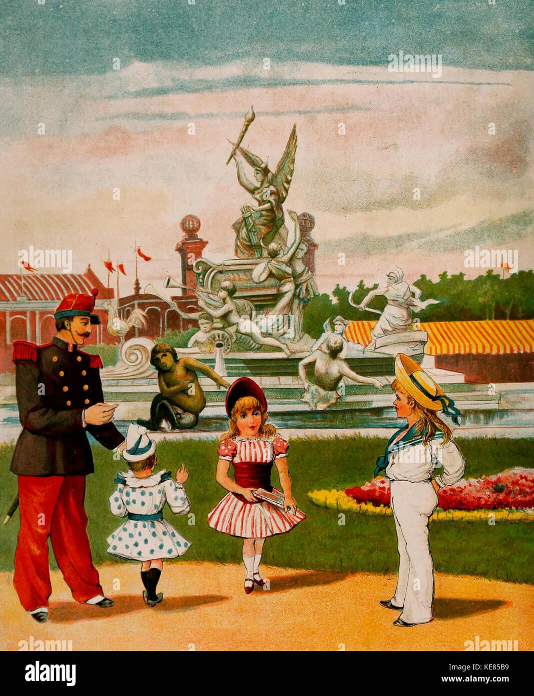 Der Brunnen der Fortschritt bei der Pariser Weltausstellung von 1878 Stockbild