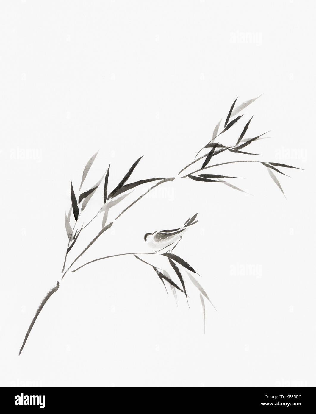 Vogel auf einem Ast mit Blätter künstlerische orientalischen Stil Illustration, japanische Zen Sumi-e Stockbild