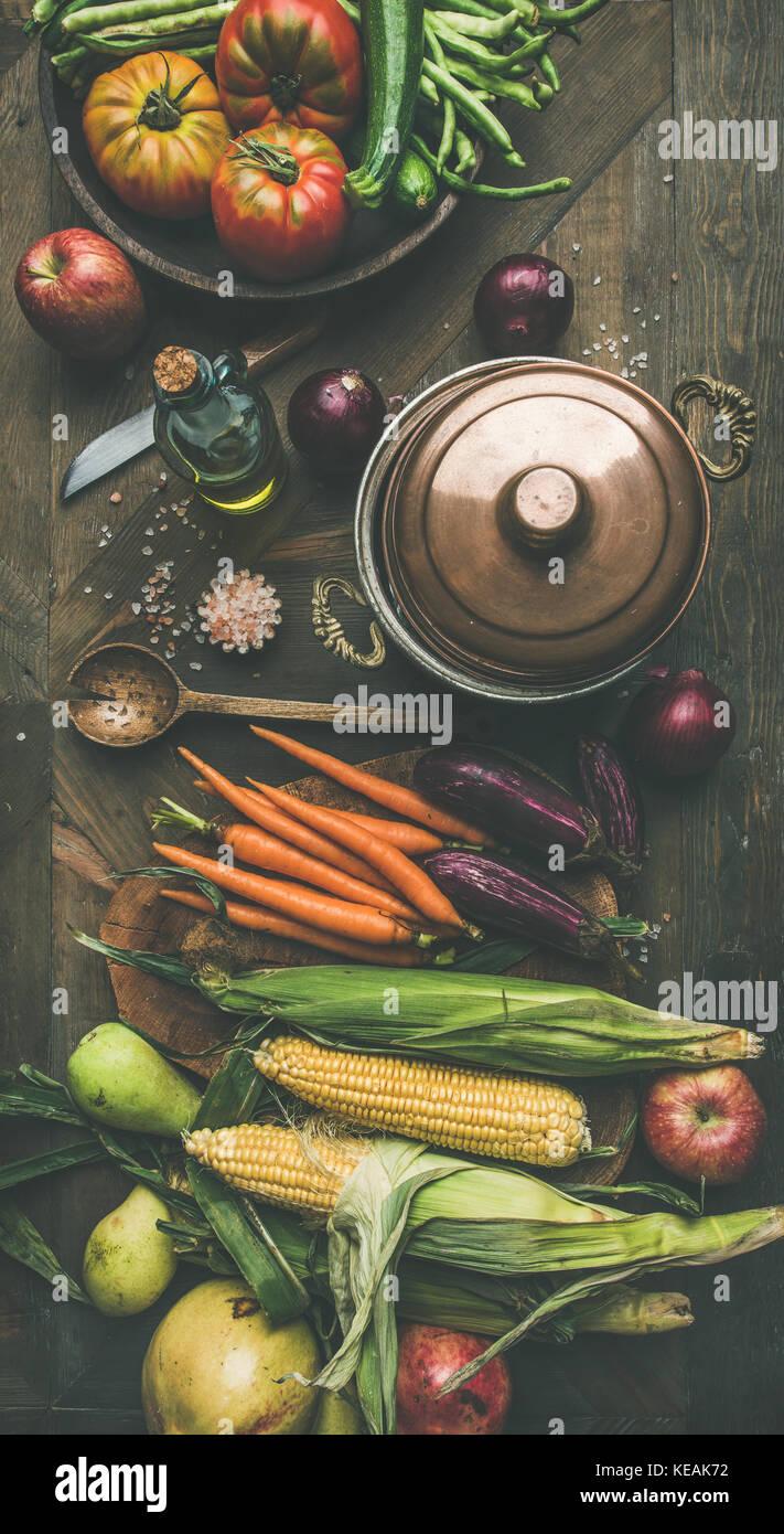 Herbst gesunden Zutaten für thanksgiving Tag Abendessen Vorbereitung, Flachbild-lay Stockbild