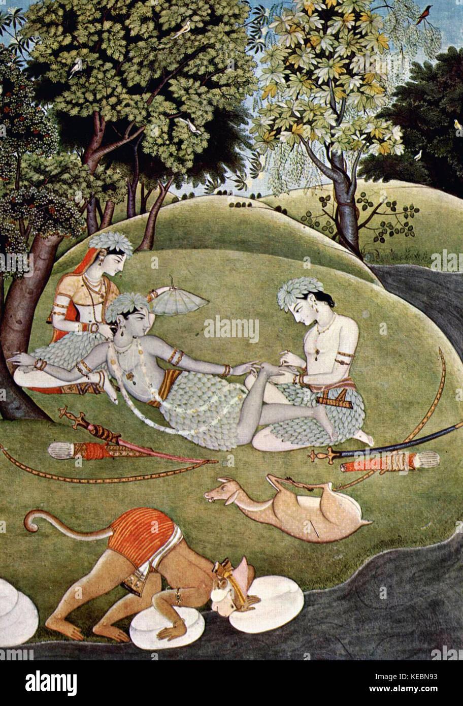 Rama und Sita in den Wald aus dem Ramayana Stockbild