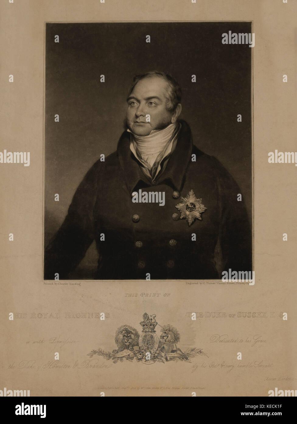 Seine Königliche Hoheit der Herzog von Sussex, Porträt, Kupferstich von charlesturner aus einem Gemälde Stockbild