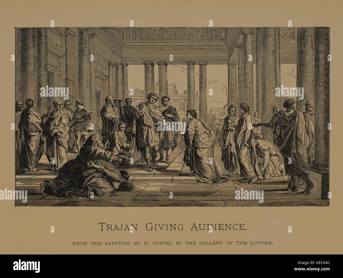 Trajan, Publikum, Holzschnitt Kupferstich aus dem ursprünglichen Anstrich durch n. coypel, die Meisterwerke Stockbild