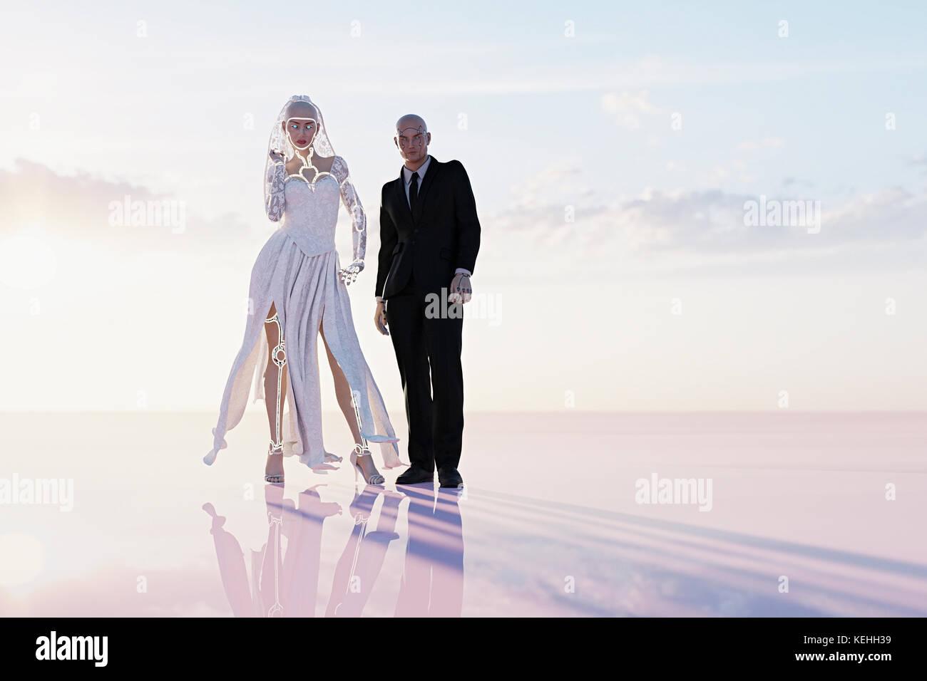 Cyborg Braut und Bräutigam in Wedding Stockbild