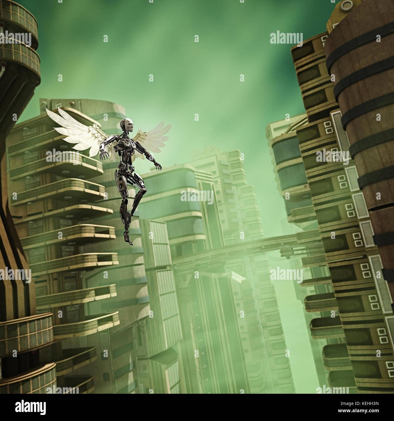 Roboter Engel in futuristischen Stadt fliegen Stockbild