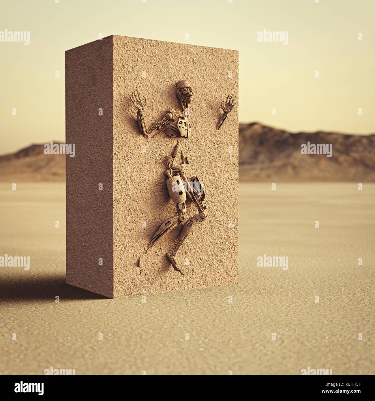 Roboter im Schmutz cube in der Wüste gefangen Stockbild