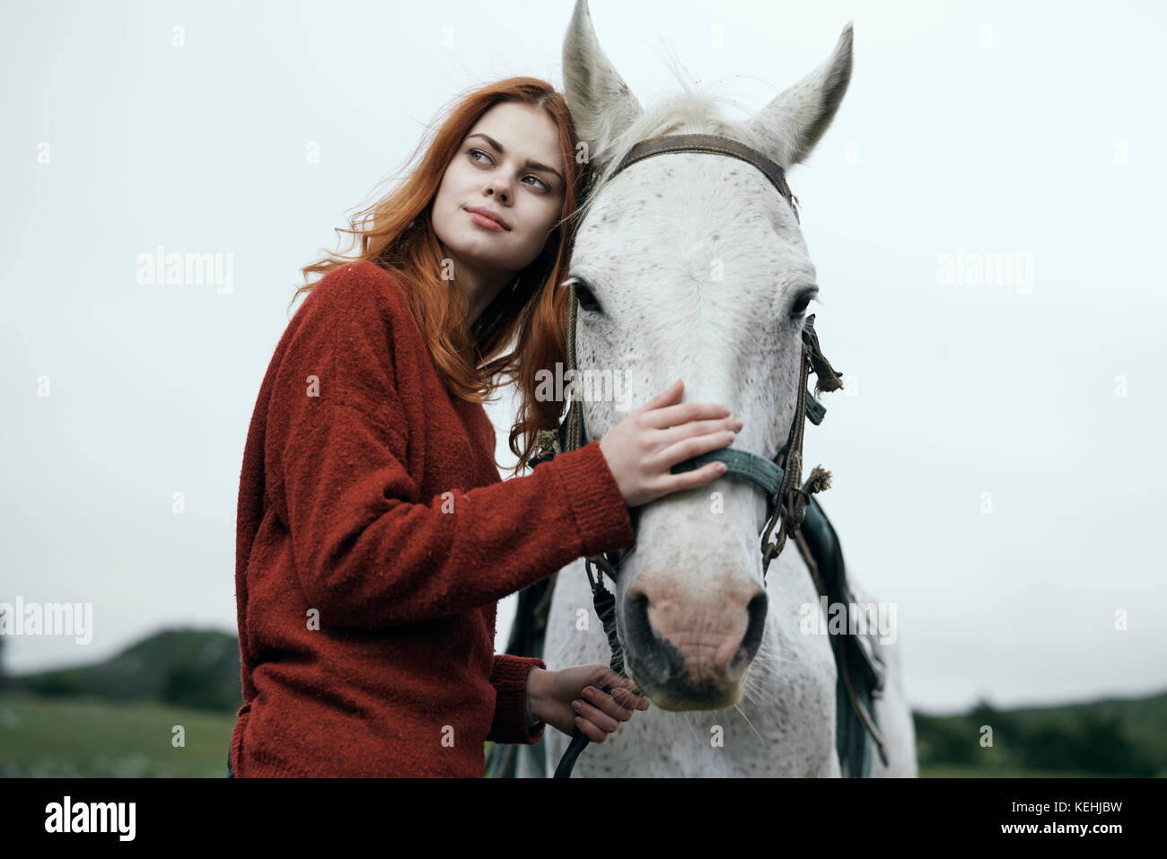 Kaukasische Frau petting Pferd Stockbild