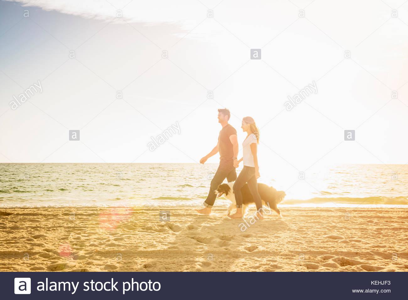 Kaukasische Paar am Strand mit Hund Stockbild
